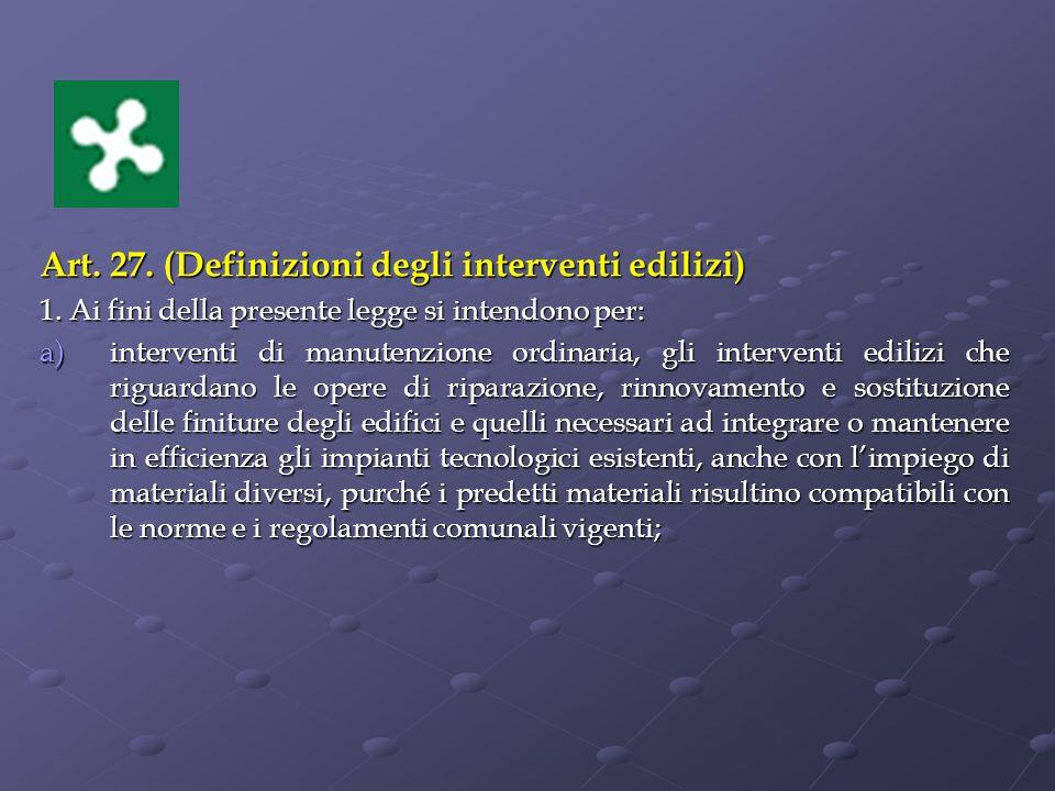 Art. 27. (Definizioni degli interventi edilizi)