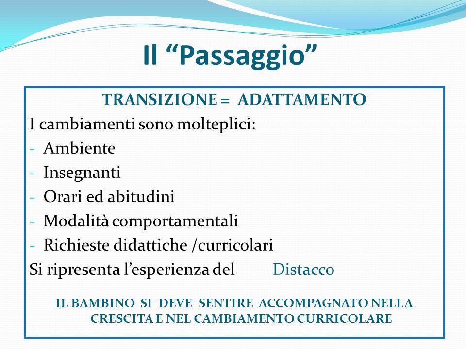 TRANSIZIONE = ADATTAMENTO