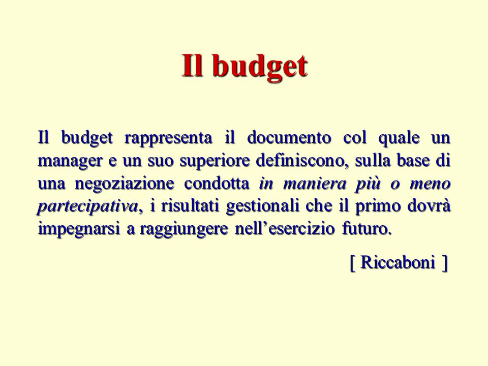 Il budget
