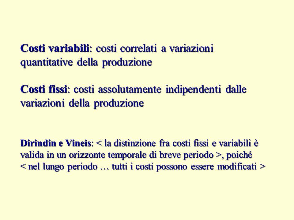 Costi variabili: costi correlati a variazioni quantitative della produzione