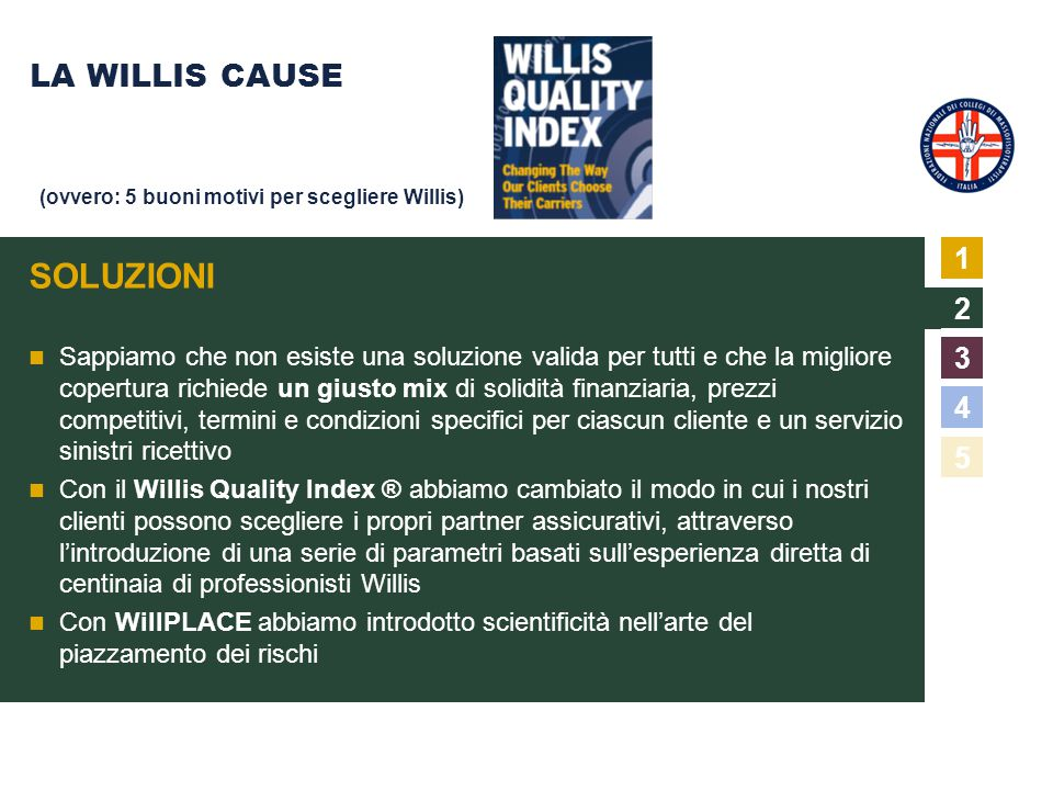 SOLUZIONI LA WILLIS CAUSE 1 2 3 4 5
