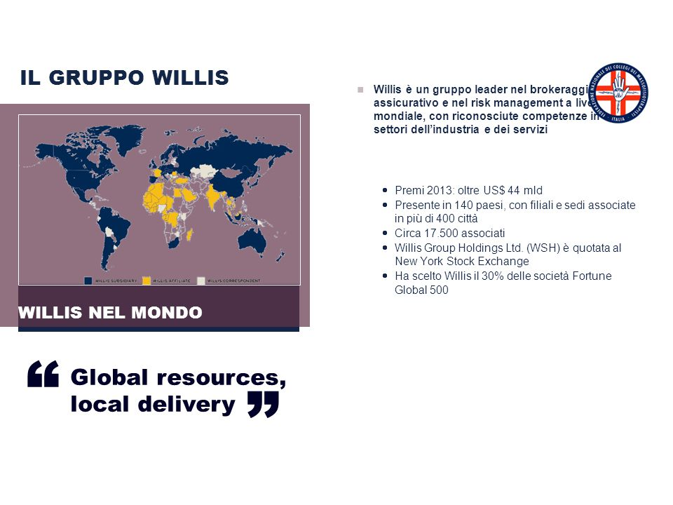 """ Global resources, local delivery IL GRUPPO WILLIS WILLIS NEL MONDO"