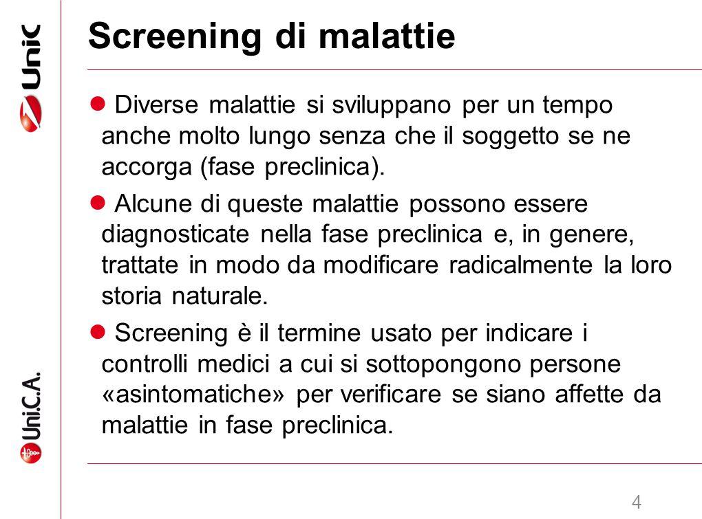 Screening di malattie Diverse malattie si sviluppano per un tempo anche molto lungo senza che il soggetto se ne accorga (fase preclinica).