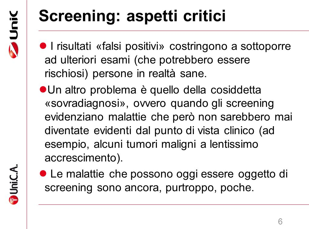 Screening: aspetti critici