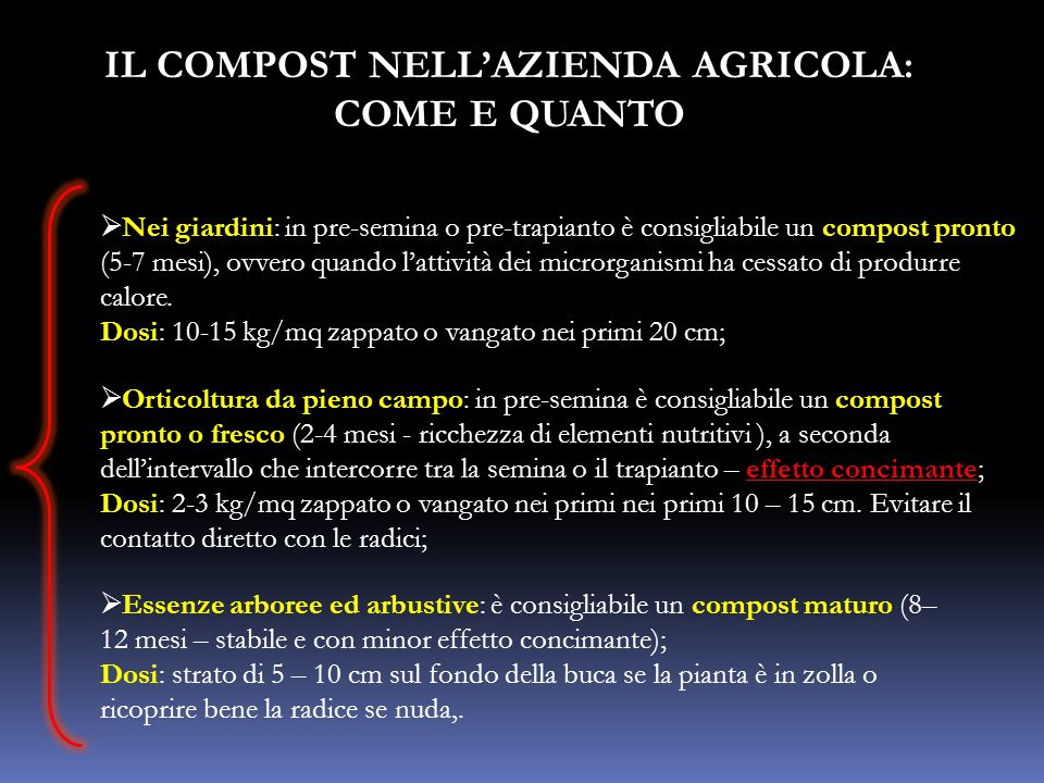 IL COMPOST NELL'AZIENDA AGRICOLA: