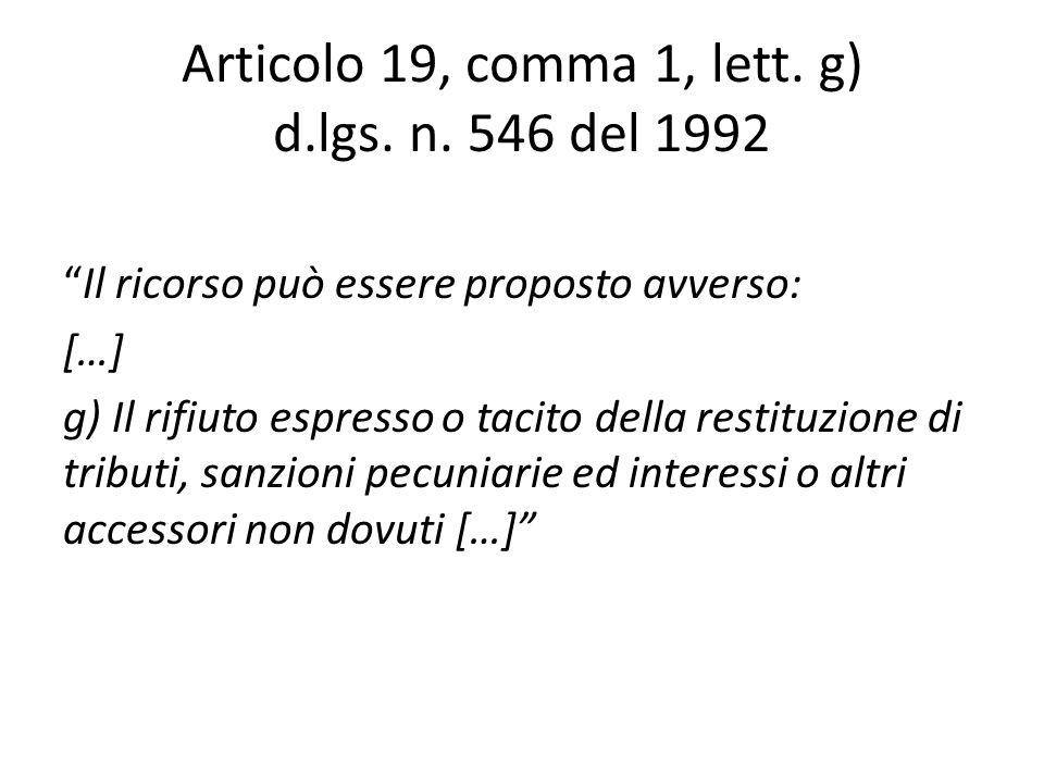 Articolo 19, comma 1, lett. g) d.lgs. n. 546 del 1992