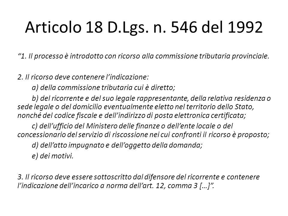 Articolo 18 D.Lgs. n. 546 del 1992