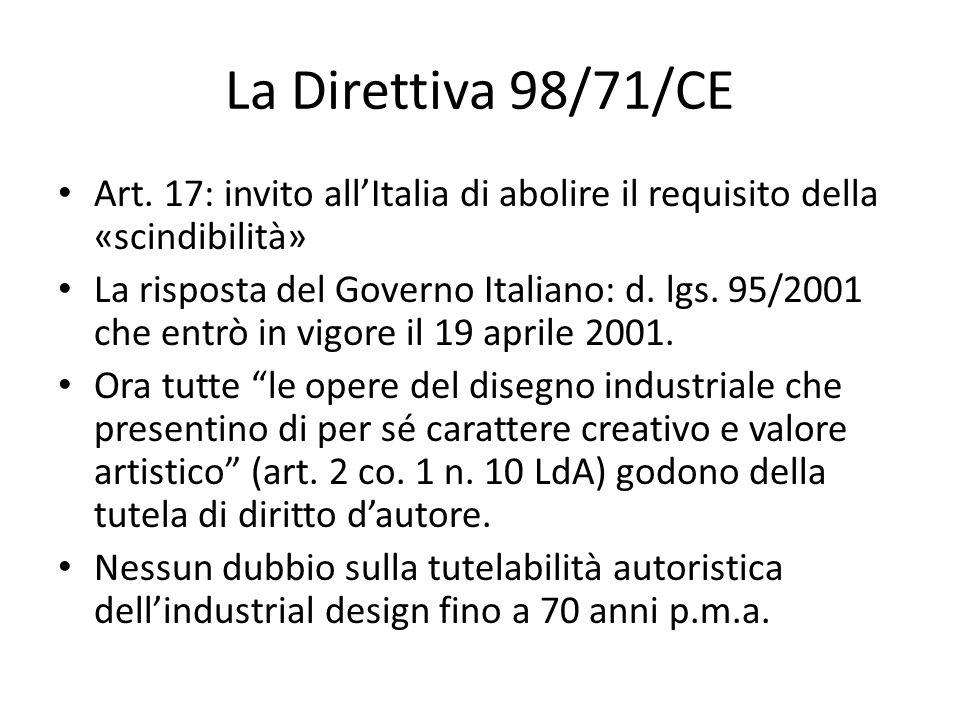 La Direttiva 98/71/CE Art. 17: invito all'Italia di abolire il requisito della «scindibilità»