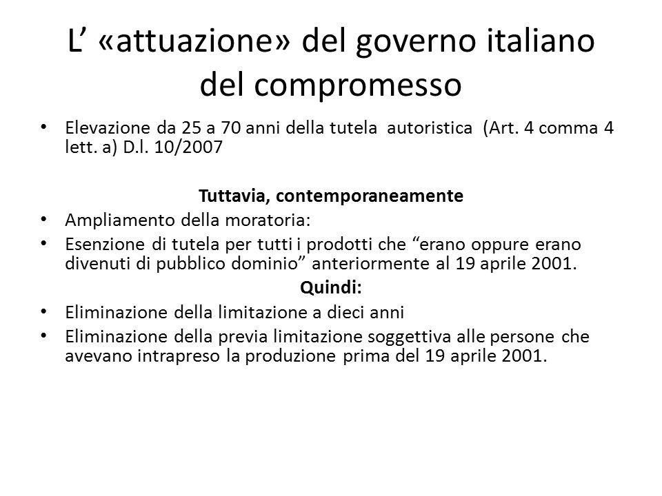 L' «attuazione» del governo italiano del compromesso