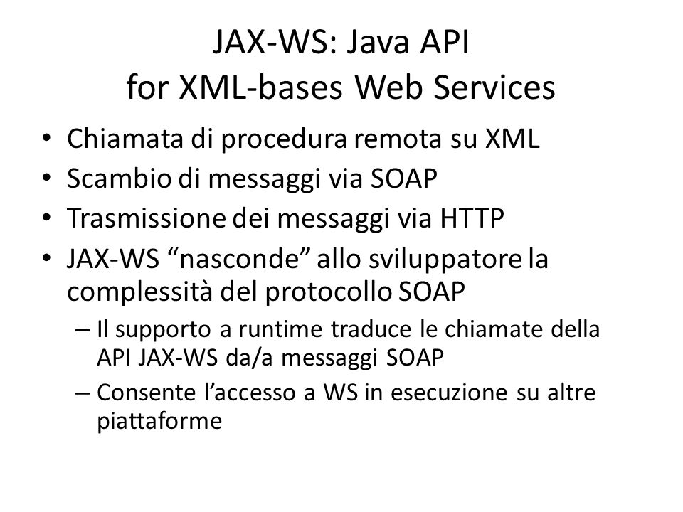 JAX-WS: Java API for XML-bases Web Services