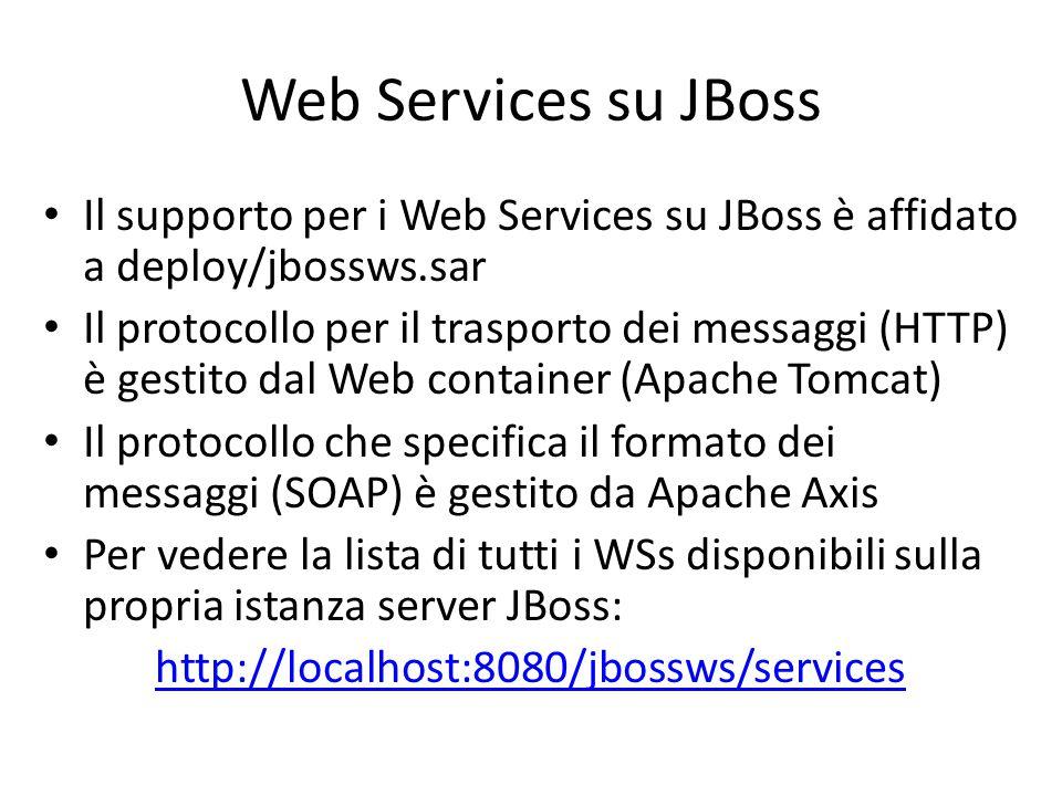 Web Services su JBoss Il supporto per i Web Services su JBoss è affidato a deploy/jbossws.sar.