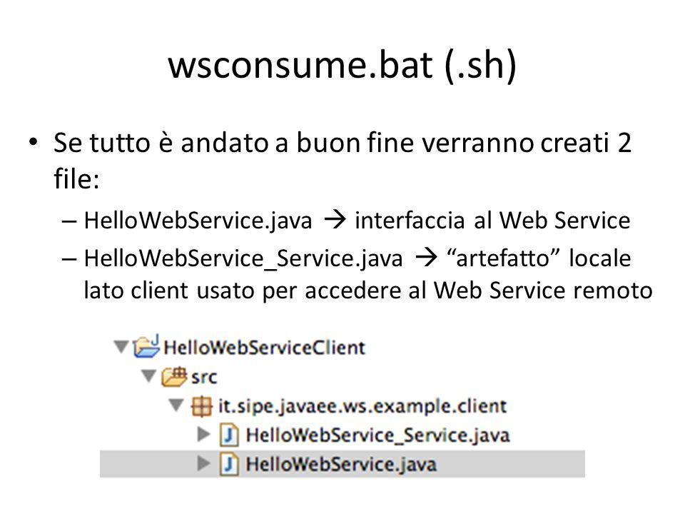 wsconsume.bat (.sh) Se tutto è andato a buon fine verranno creati 2 file: HelloWebService.java  interfaccia al Web Service.
