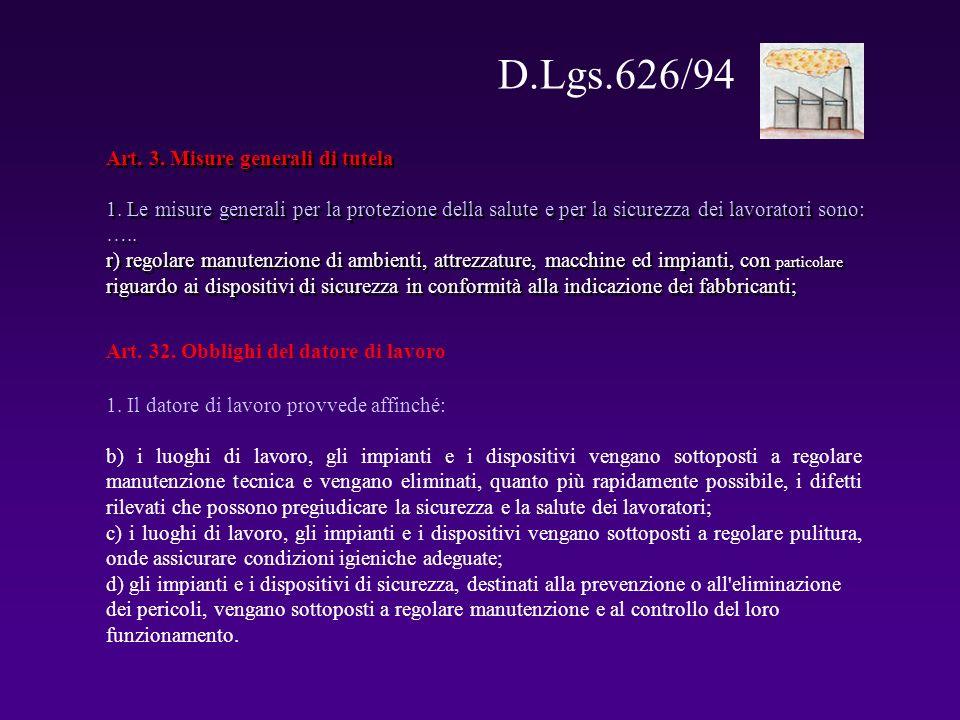 D.Lgs.626/94 Art. 3. Misure generali di tutela