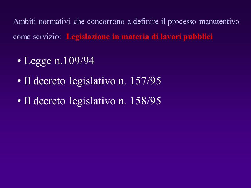 Il decreto legislativo n. 157/95 Il decreto legislativo n. 158/95