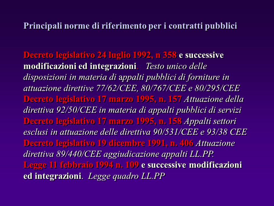 Principali norme di riferimento per i contratti pubblici