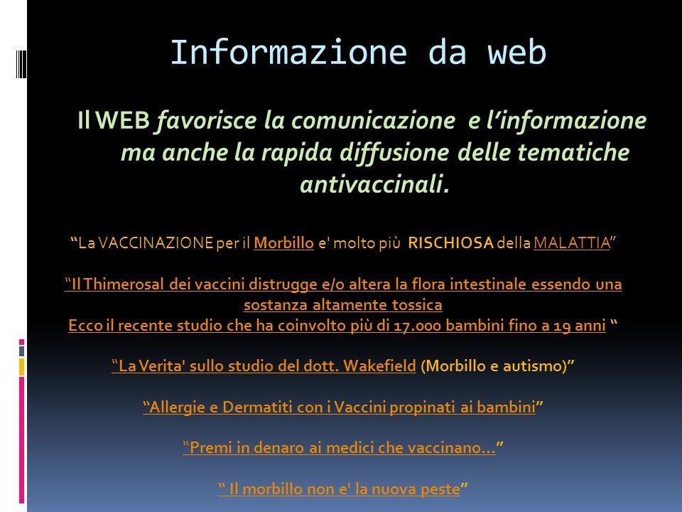 Informazione da web Il WEB favorisce la comunicazione e l'informazione ma anche la rapida diffusione delle tematiche antivaccinali.