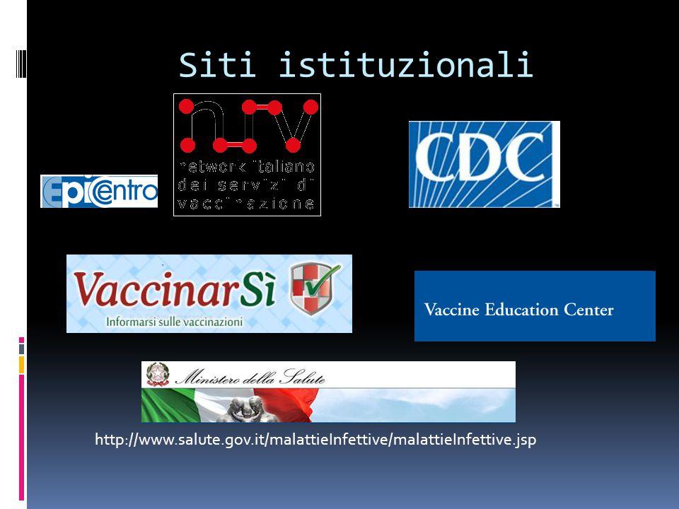 Siti istituzionali http://www.salute.gov.it/malattieInfettive/malattieInfettive.jsp