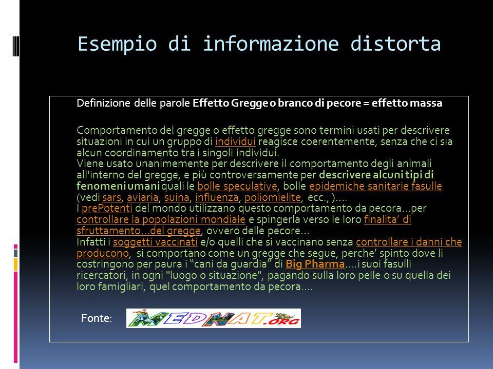 Esempio di informazione distorta