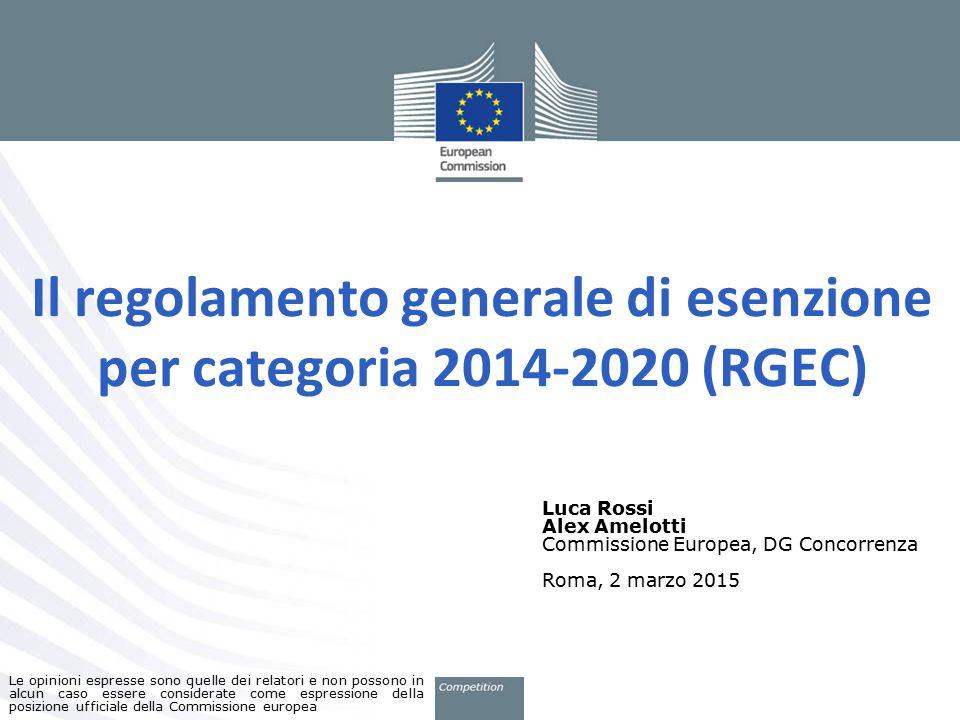 Il regolamento generale di esenzione per categoria 2014-2020 (RGEC)