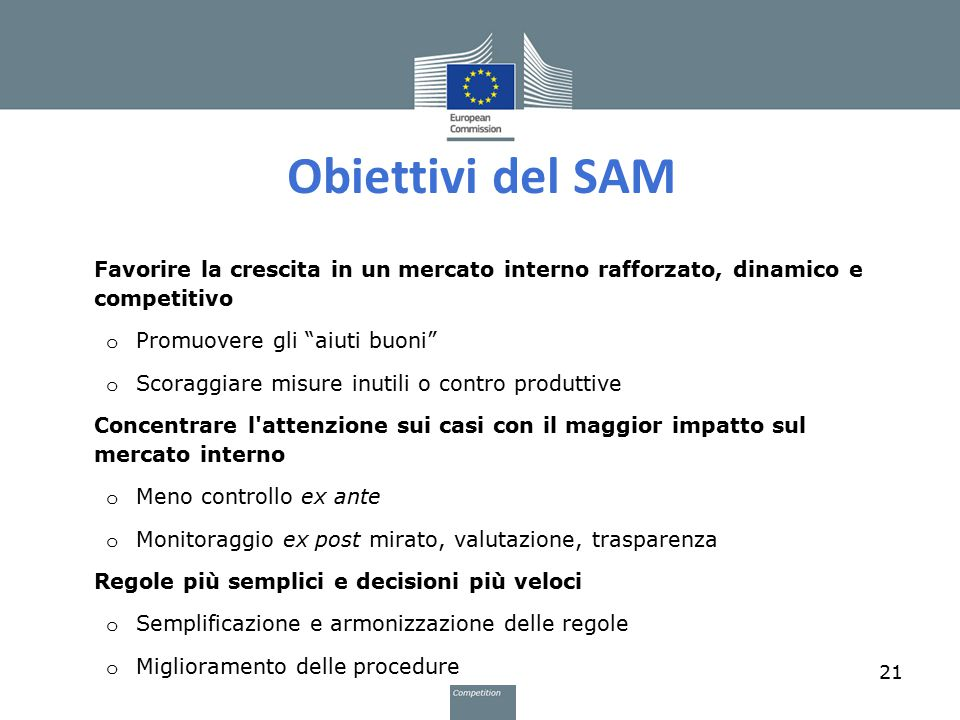 Obiettivi del SAM Favorire la crescita in un mercato interno rafforzato, dinamico e competitivo. Promuovere gli aiuti buoni