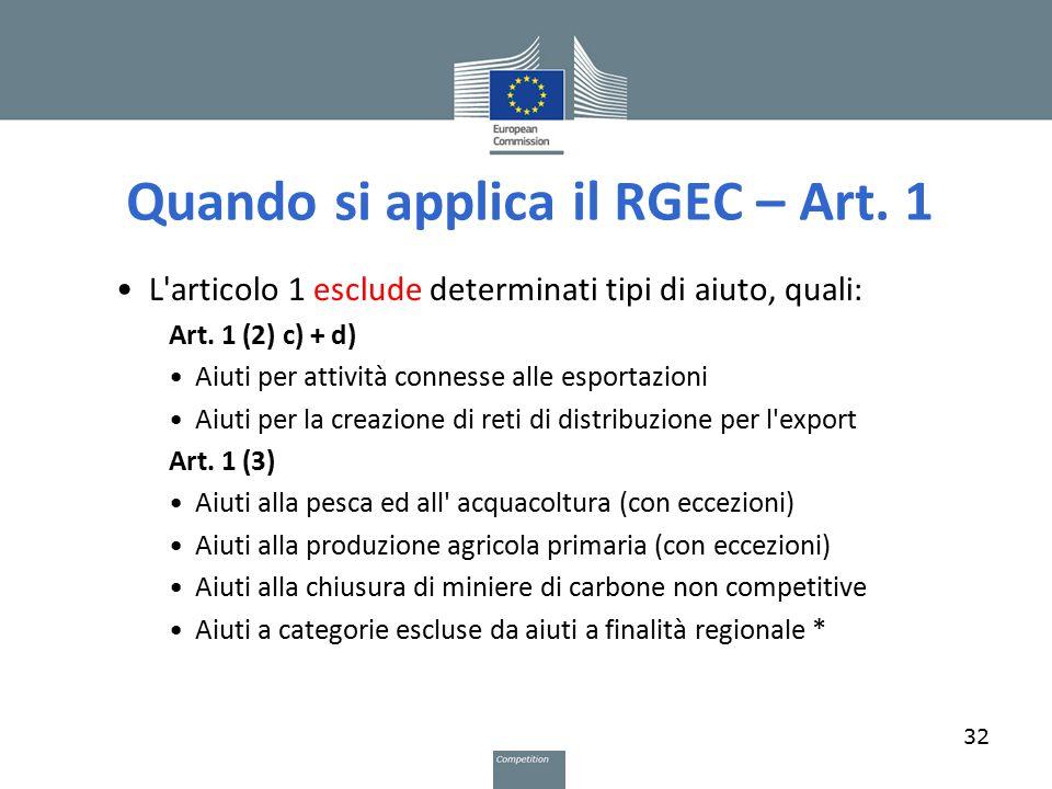 Quando si applica il RGEC – Art. 1