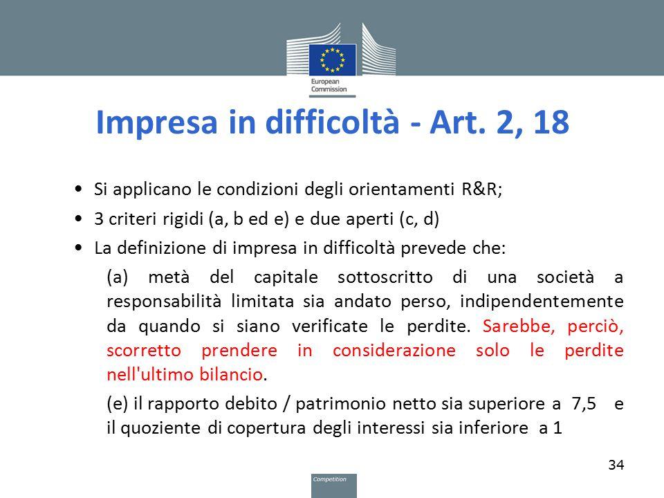 Impresa in difficoltà - Art. 2, 18