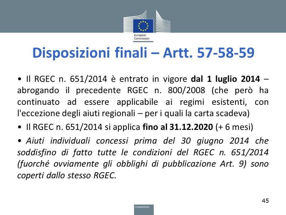 Disposizioni finali – Artt. 57-58-59