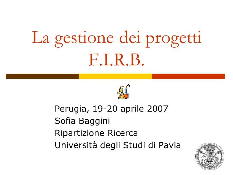 La gestione dei progetti F.I.R.B.