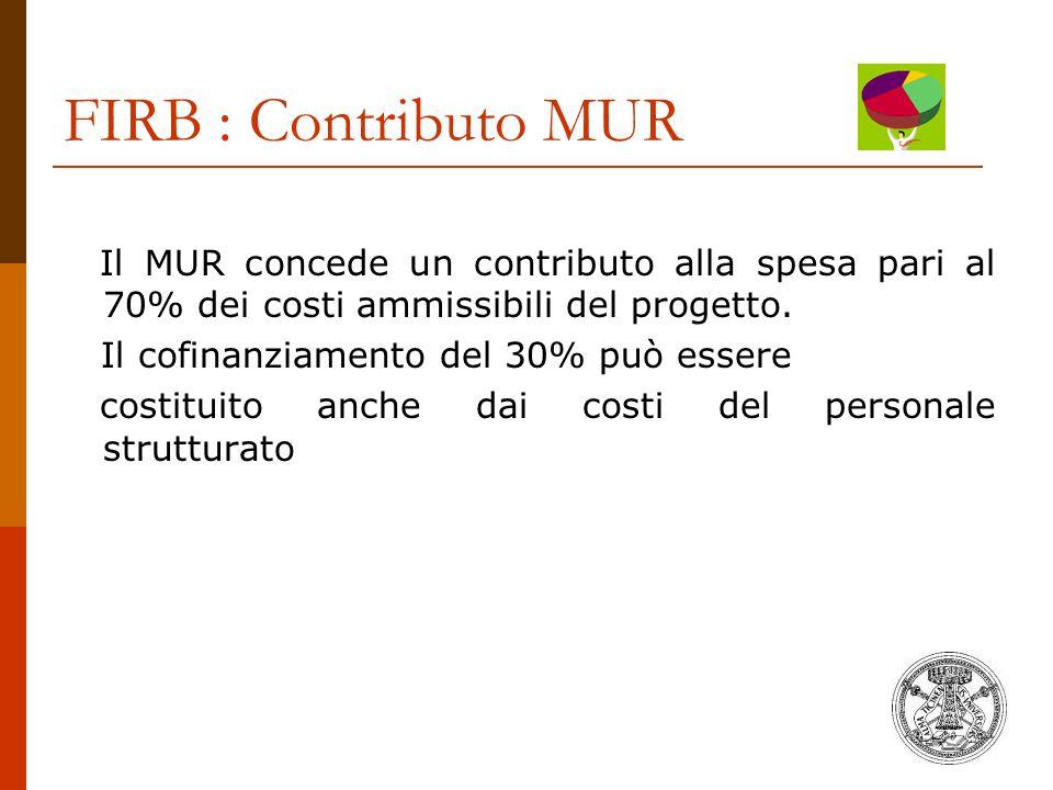 FIRB : Contributo MUR Il MUR concede un contributo alla spesa pari al 70% dei costi ammissibili del progetto.