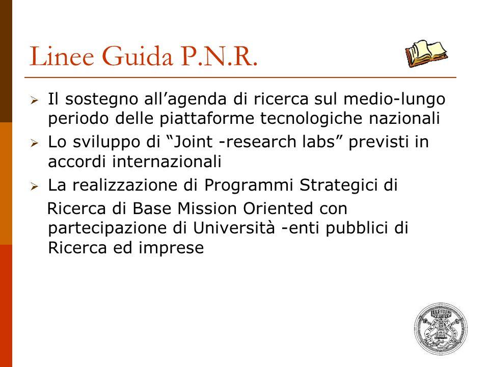 Linee Guida P.N.R. Il sostegno all'agenda di ricerca sul medio-lungo periodo delle piattaforme tecnologiche nazionali.
