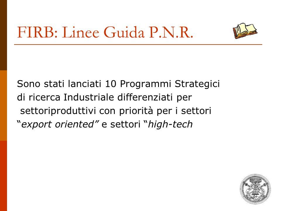 FIRB: Linee Guida P.N.R. Sono stati lanciati 10 Programmi Strategici