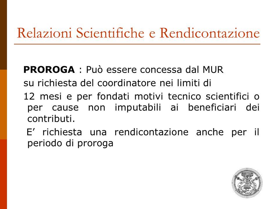 Relazioni Scientifiche e Rendicontazione