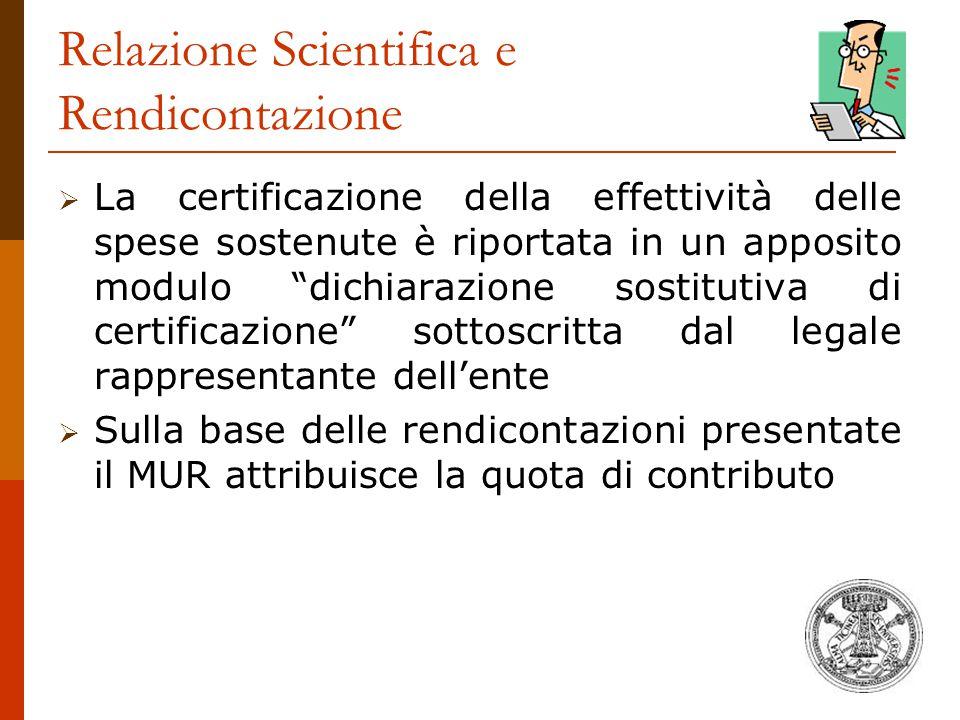 Relazione Scientifica e Rendicontazione