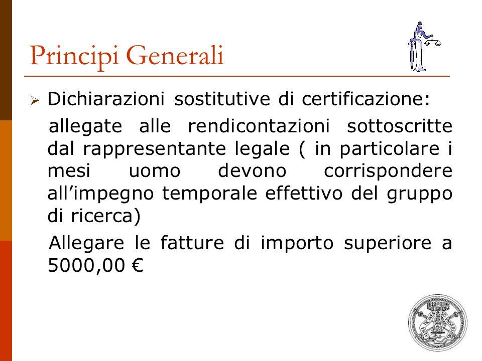 Principi Generali Dichiarazioni sostitutive di certificazione: