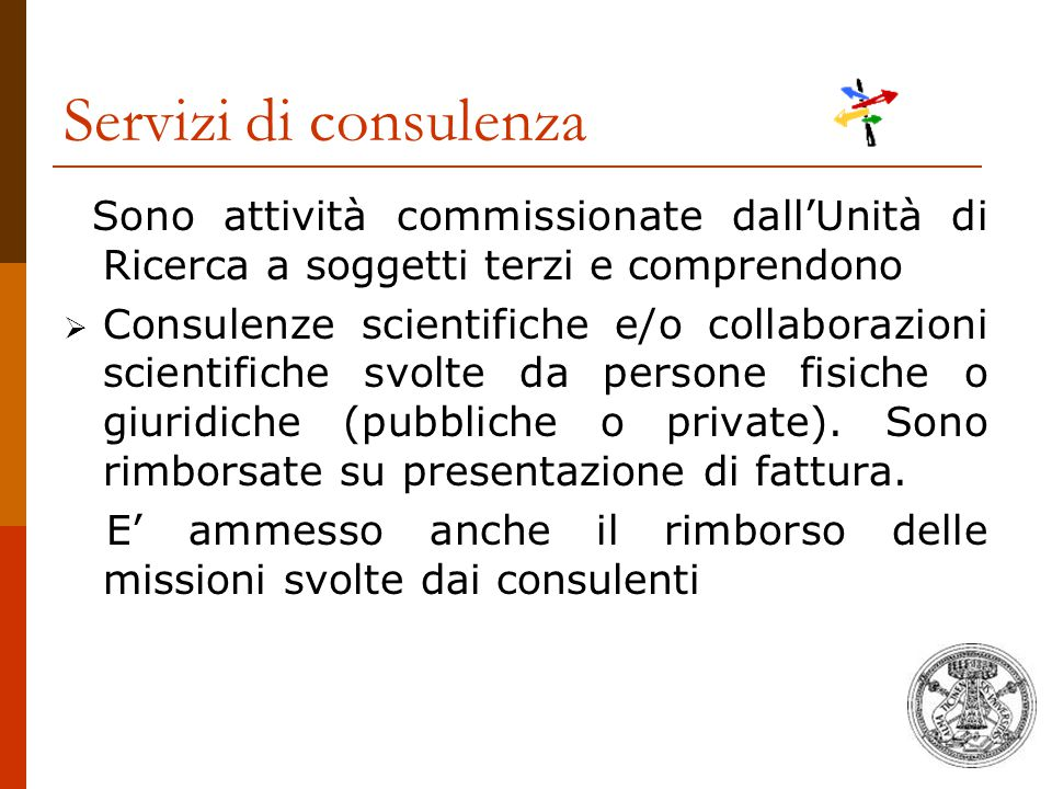 Servizi di consulenza Sono attività commissionate dall'Unità di Ricerca a soggetti terzi e comprendono.