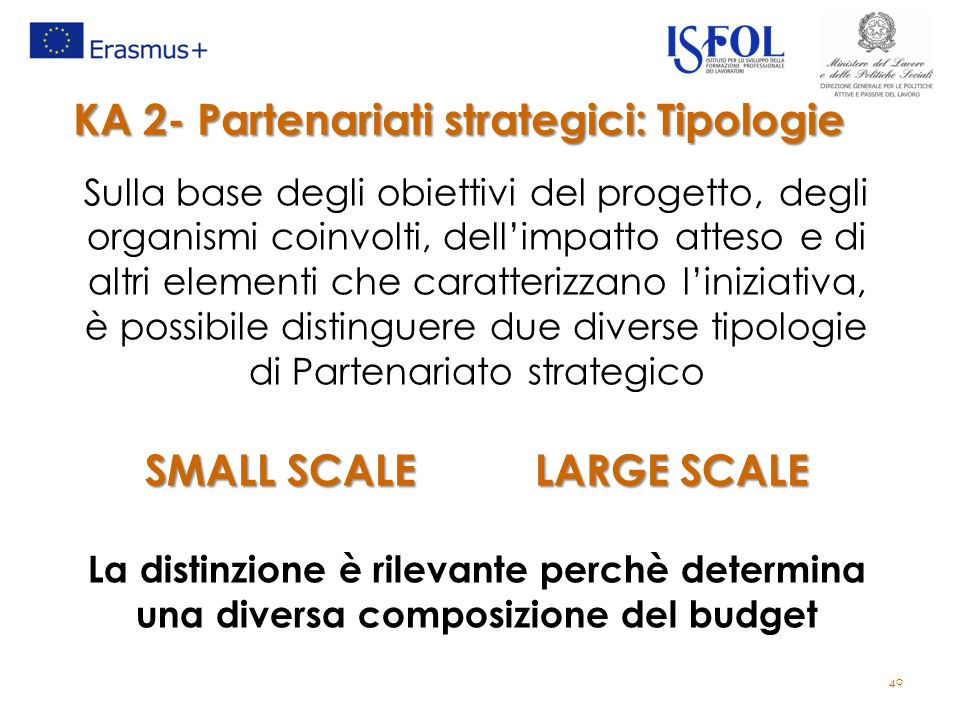 KA 2- Partenariati strategici: Tipologie SMALL SCALE LARGE SCALE
