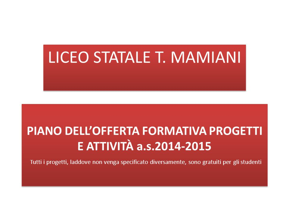 LICEO STATALE T. MAMIANI