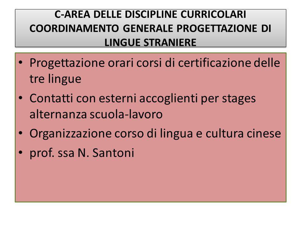 Progettazione orari corsi di certificazione delle tre lingue