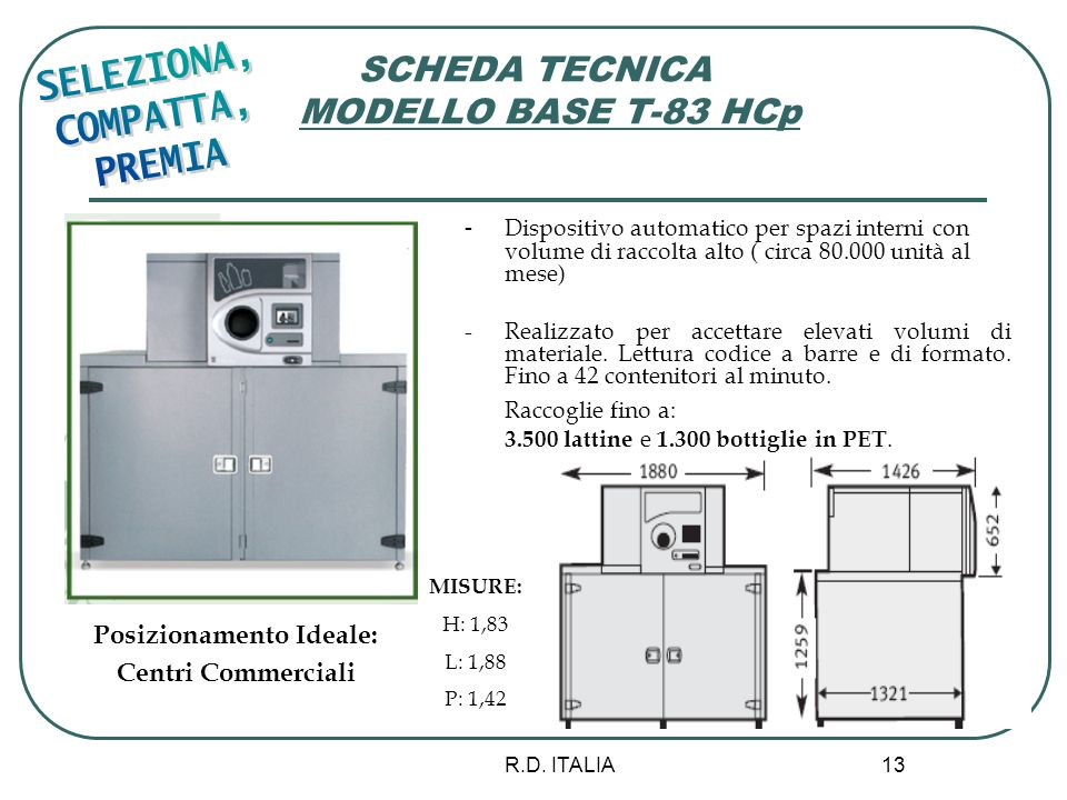 SCHEDA TECNICA MODELLO BASE T-83 HCp