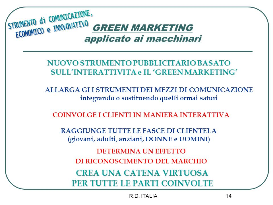 GREEN MARKETING applicato ai macchinari