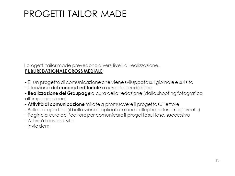 PROGETTI TAILOR MADE I progetti tailor made prevedono diversi livelli di realizzazione. PUBLIREDAZIONALE CROSS MEDIALE.