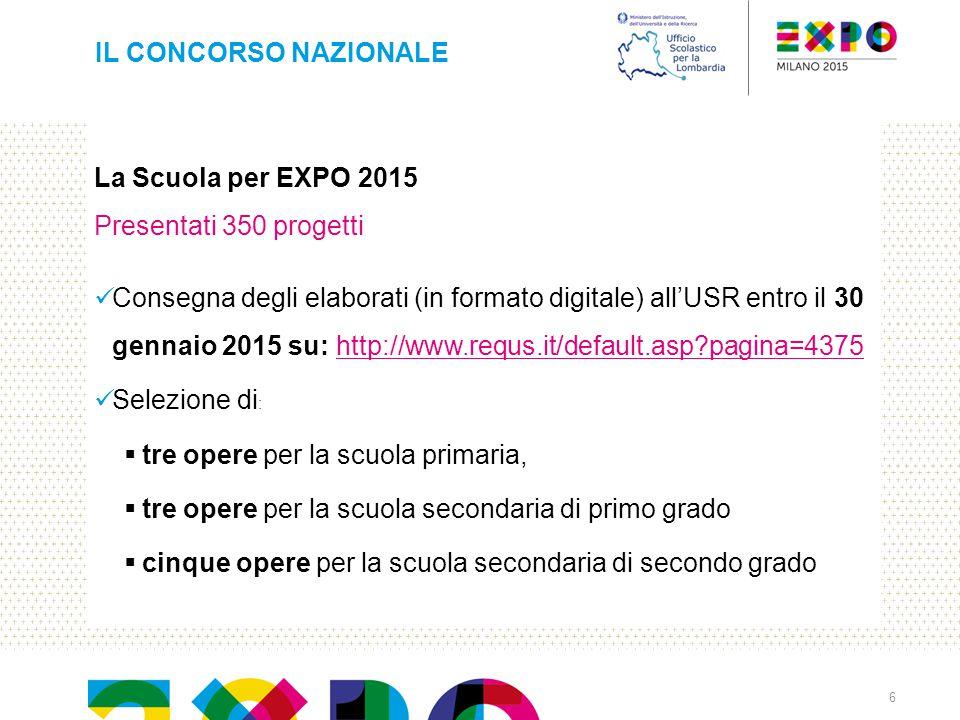 IL CONCORSO NAZIONALE La Scuola per EXPO 2015. Presentati 350 progetti.