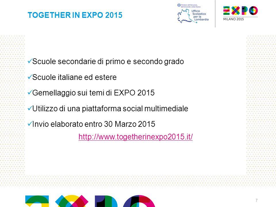 TOGETHER IN EXPO 2015 Scuole secondarie di primo e secondo grado. Scuole italiane ed estere. Gemellaggio sui temi di EXPO 2015.