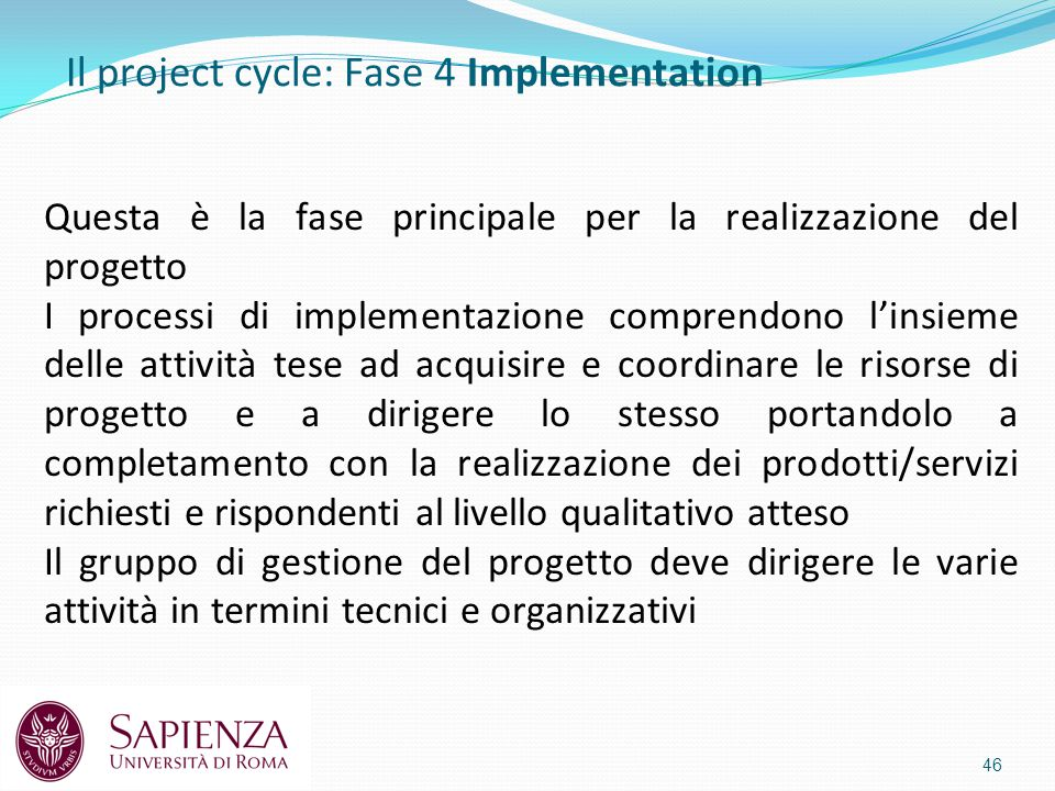 Il project cycle: Fase 4 Implementation