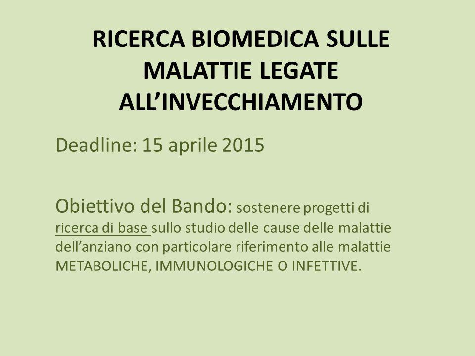 RICERCA BIOMEDICA SULLE MALATTIE LEGATE ALL'INVECCHIAMENTO
