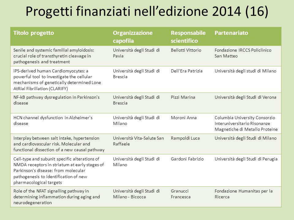 Progetti finanziati nell'edizione 2014 (16)
