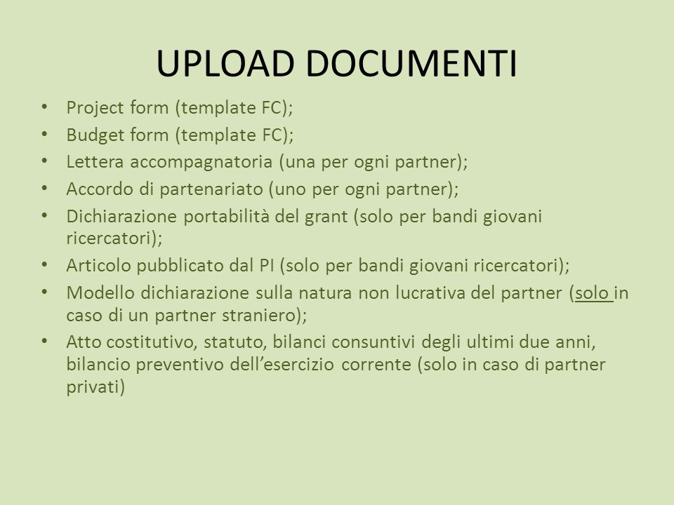 UPLOAD DOCUMENTI Project form (template FC);