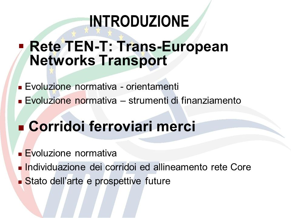 INTRODUZIONE Rete TEN-T: Trans-European Networks Transport