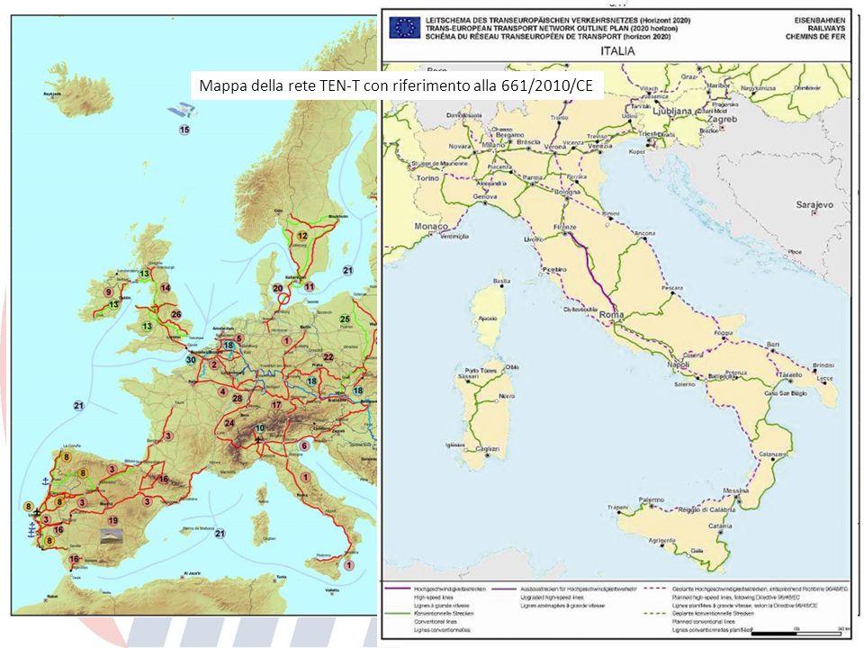 Mappa della rete TEN-T con riferimento alla 661/2010/CE