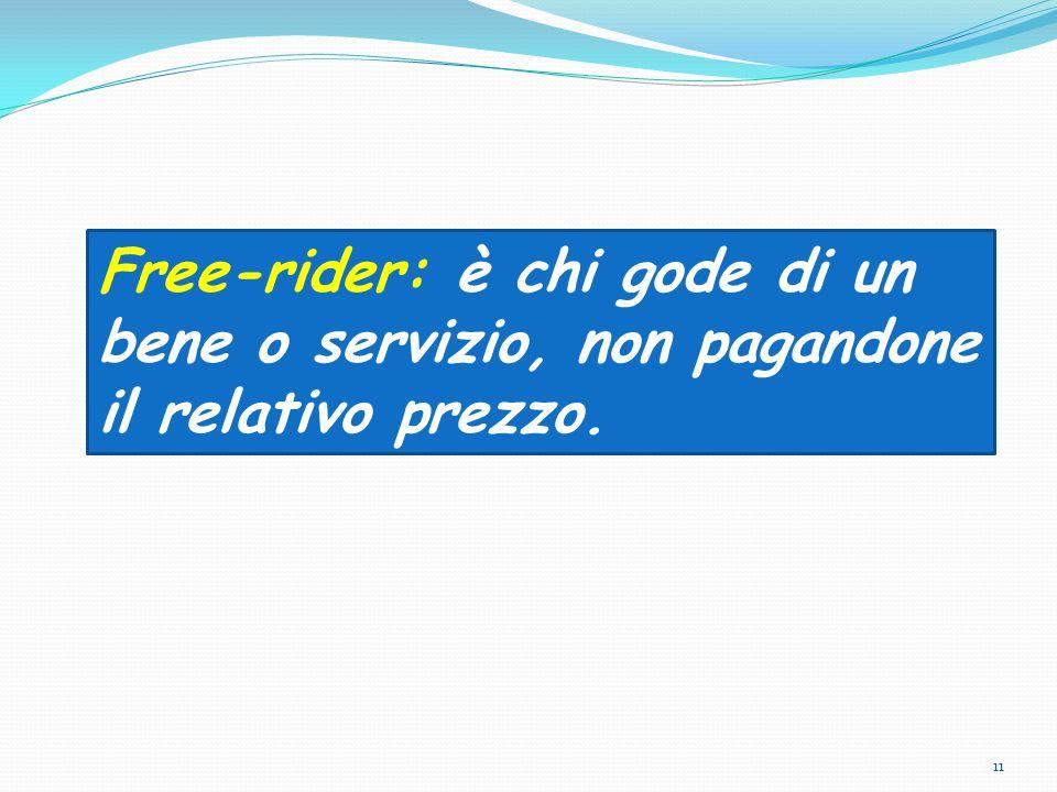 Free-rider: è chi gode di un bene o servizio, non pagandone il relativo prezzo.